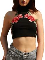 Lily-Li Women Sexy Embroidered Floral Backless Halter Vest Choker Crop Tank Top
