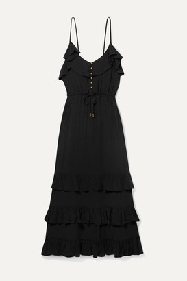 Melissa Odabash Bethan Tiered Ruffled Crepe De Chine Midi Dress - Black