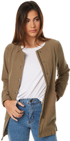 Swell Linen Unlined Longline Jacket Green