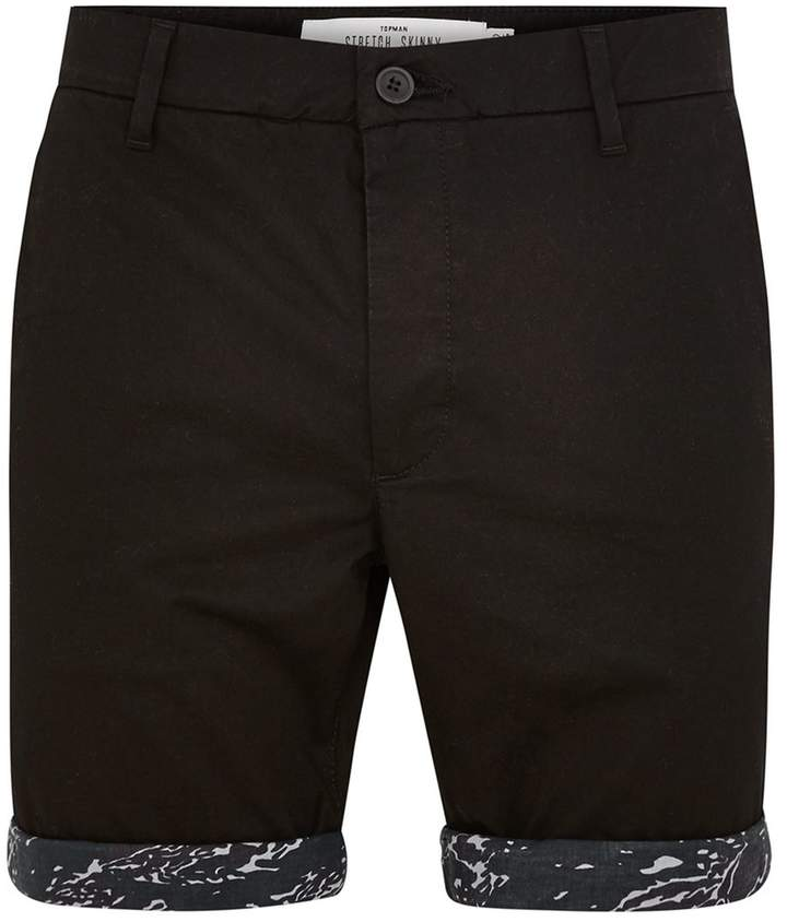 Topman Black Camouflage Turn Up Chino Shorts