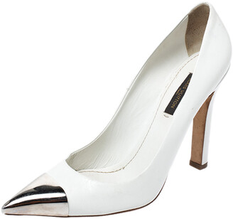 Louis Vuitton White Leather Urban Twist Pointed Toe Pumps Size 37.5