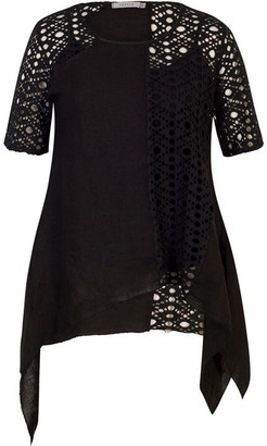 Chesca Linen Tunic With Contrast Lace Panel & Sleeve