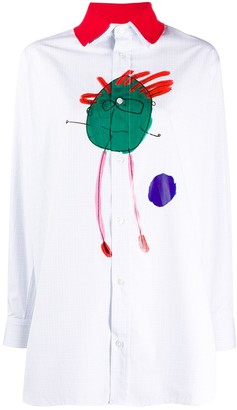 Plan C Graphic Print Detachable Collar Shirt