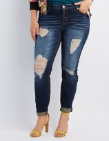 Charlotte Russe Plus Size Refuge Boyfriend Destroyed Jeans