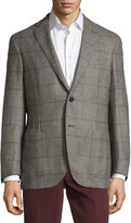 Luciano Barbera Wool-Cashmere Blend Houndstooth Jacket, Black/White