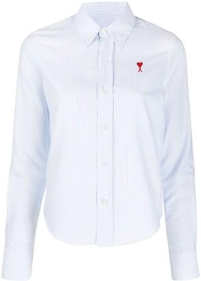 AMI Paris Ami de Coeur pinstriped shirt