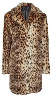 Dorothy Perkins Womens Brown Leopard Print Faux Fur Coat, Brown