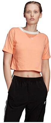 adidas adiColor Crop Top (Black/White) Women's Clothing