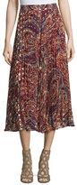 Haute Hippie Silk Sunburst Flare Midi Skirt, Kennedy Metallic