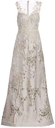 Teri Jon By Rickie Freeman Metallic Floral Embroidered & Applique Sheer Yoke A-Line Gown