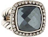 David Yurman Diamond & Hematite Albion Ring
