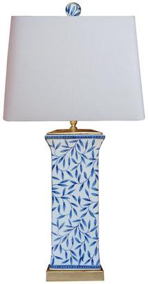 East Enterprises Inc Blue and White Tall Bamboo Leave Vase Table Lamp