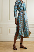 Thumbnail for your product : Yvonne S Belted Ruffled Printed Linen Midi Dress - Blue