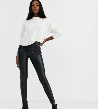 Topshop Tall faux leather pants in black