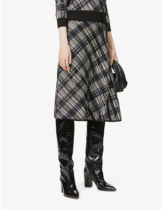 Sportmax Limosa checked knitted midi skirt