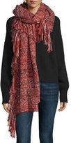 Rebecca Minkoff Chunky Melange Blanket Scarf, Ruby/Black/Cream