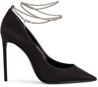 Saint Laurent Zoe Ankle Chain Heels in Black | FWRD