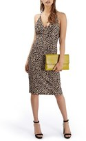 Topshop Animal Print Plunge Body-Con Midi Dress