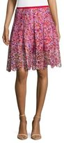T Tahari Textured Floral A-Line Skirt