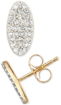 Elsie May Diamond Oval Stud Earrings (1/4 ct. t.w.) in Sterling Silver and 18k Over Silver