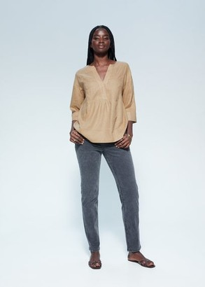 MANGO Violeta BY 100% linen blouse khaki - 10 - Plus sizes
