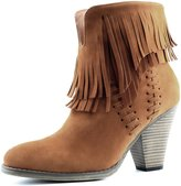 DailyShoes Women's Western Cowboy Double Fringe High Top Ankle High Heel Boot