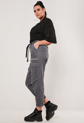 Missguided Plus Size Grey Paperbag Waist Cargo Trousers