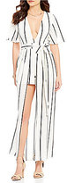 GB V-Neck Striped Open-Front Skirt Overlay Maxi Romper