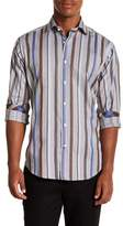 Thomas Dean Striped Long Sleeve Sport Fit Shirt