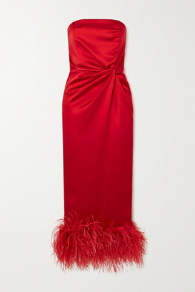 16Arlington Himawari Strapless Feather-trimmed Knotted Satin Midi Dress - Red