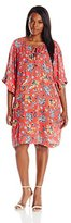 Democracy Women's Plus Size 3/4 Flounce Sleeve Printed Crinkled Rayon Tunic Dress with Lace up Front Detail