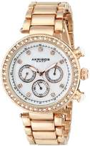 Akribos XXIV Women's AK681RG Lady Diamond Quartz Multifunction Crystal Mother-of-Pearl Rose-tone Bracelet Watch