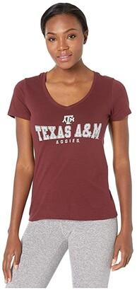 Champion College Texas AM Aggies University V-Neck Tee (Maroon 4) Women's T Shirt