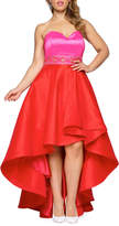 Mac Duggal Plus Size Strapless Colorblock High-Low Gown w/ Embellished Waist