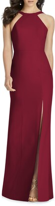 Dessy Collection Cutaway Shoulder Crepe Column Gown