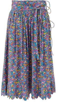 Horror Vacui Lydia Mushroom-print Cotton Midi Skirt - Blue Multi