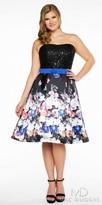 Mac Duggal Cascading Floral Print Strapless Plus Size Cocktail Dress