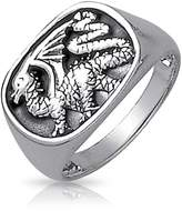 Bling Jewelry 925 Sterling Silver Dragon Ring for Men Antique Style With Free Engraving