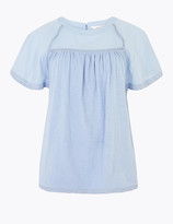Per Una UsMarks and Spencer Pure Cotton Embroidered Blouse