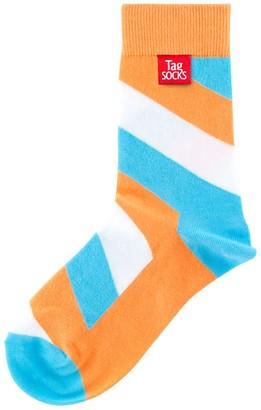 Tag Socks Orange & Cyan Love - A New Sock Experience - Bamboo & Cotton