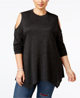 Style&Co. Style & Co. Plus Size Cold-Shoulder Sparkle Swing Top, Only at Macy's
