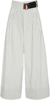 Tibi Cecil Pinstripe Cropped Wide Leg Trousers