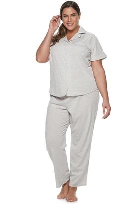 Croft & Barrow Plus Size Short Sleeve Notch Collar Sleepwear Set