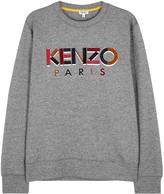 Kenzo Grey Logo-embroidered Cotton Sweatshirt