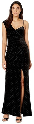 BCBGMAXAZRIA Velvet Gown with Studs (Black) Women's Dress