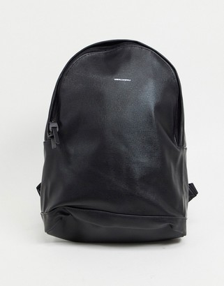 ASOS DESIGN backpack in black faux leather with saffiano emboss