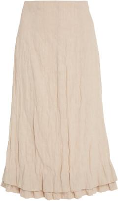 Brock Collection Linen-Blend Midi Skirt