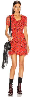 R 13 Front Button Up Babydoll Dress in Red & Black Heart | FWRD