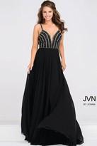 Jovani Beaded Plunging Neck Bodice Chiffon Dress JVN48495