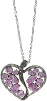 Lavish By Tjm Lavish by TJM Sterling Silver Heart Pink CZ & Marcasite Pendant Necklace